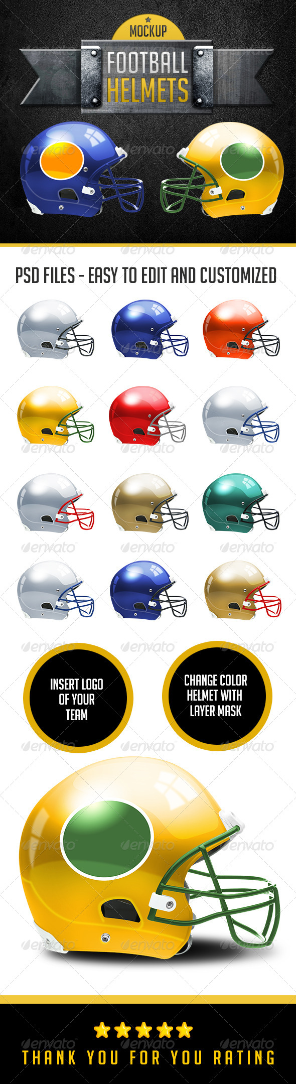 GraphicRiver Football Helmets Layered and Editable Colors 6610072