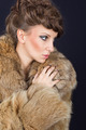 Sensual brunette woman wearing brown fur coat - PhotoDune Item for Sale