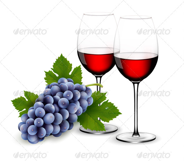 GraphicRiver Two Glasses of Red Wine with Grapes 6612452