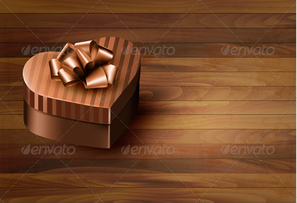 GraphicRiver Heart-Shaped Gift Box on Wooden Background 6612516