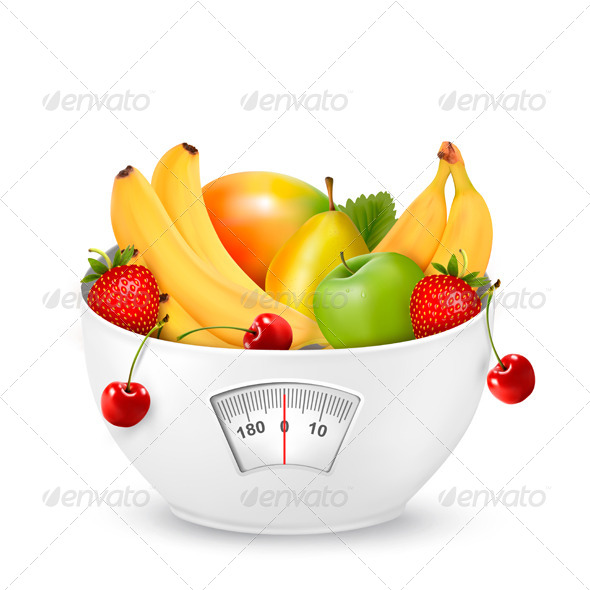 GraphicRiver Fruit with in a Weight Scale Diet Concept 6612543