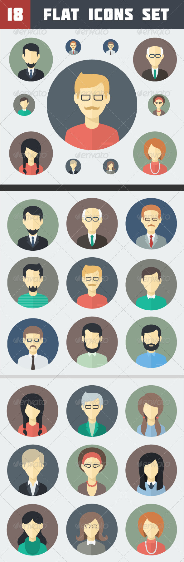 GraphicRiver Circle Flat Persons Icons Set 6613634