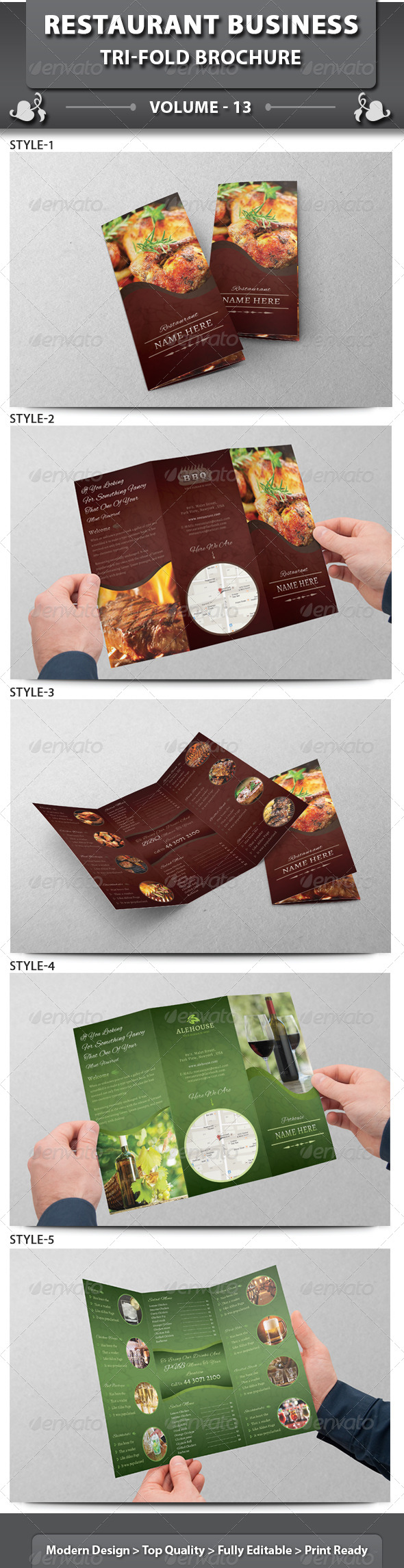 GraphicRiver Restaurant Business Tri-fold Brochure Volume 13 6613721