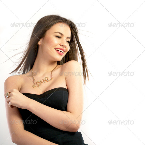 Portrait of a beautiful young woman - Stock Photo - Images