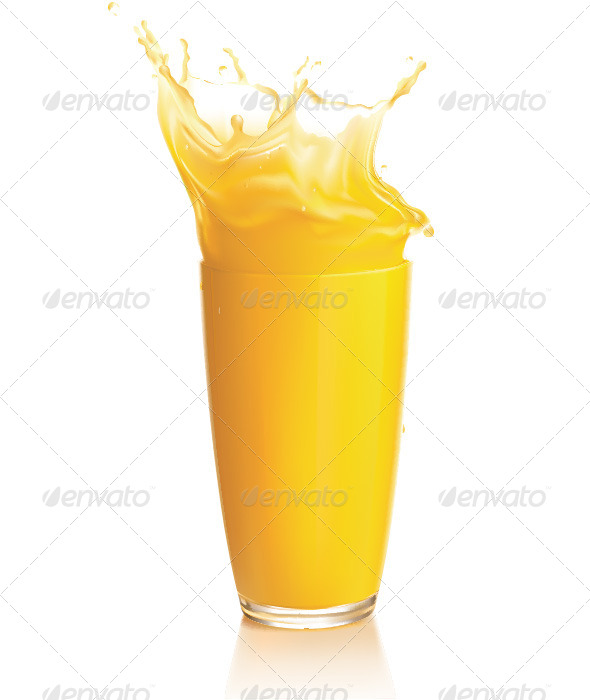 GraphicRiver Orange Juice Splash on a White Background 6617908