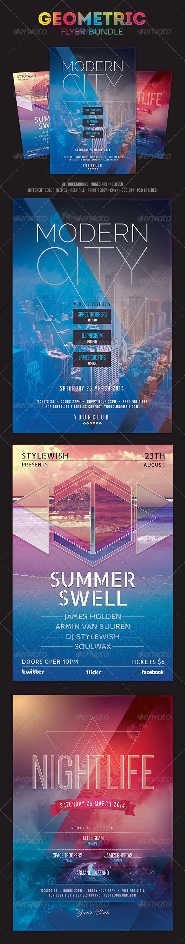 Geometric Flyer Bundle - Clubs & Parties Events