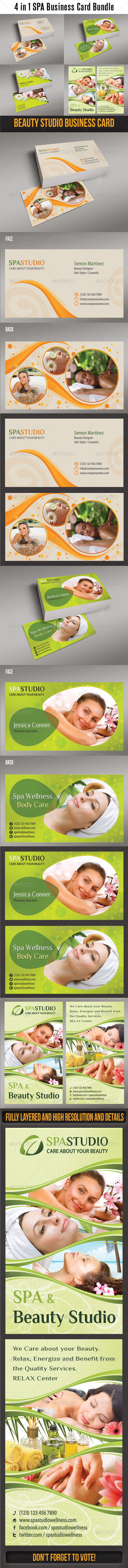 GraphicRiver 4 in 1 Spa Wellness Business Card Bundle 6619083