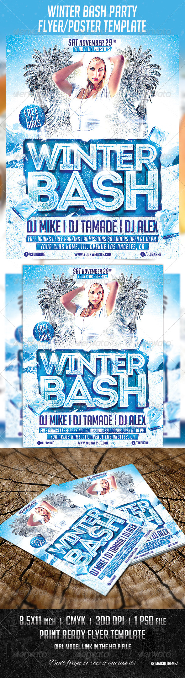Winter Bash Party Poster Template - Clubs & Parties Events