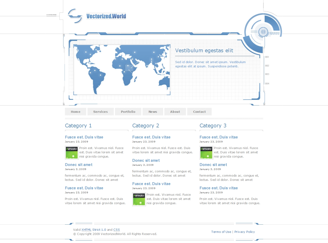 Vectorized World - Portfolio Template - Vectorized World Portfolio Template (Light Version) - News Page with 3 columns