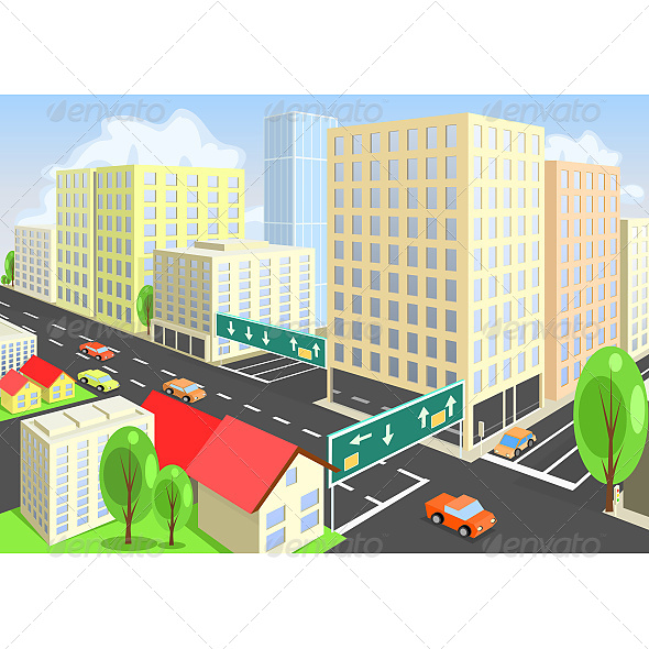 GraphicRiver Vector City View from Above 6623872