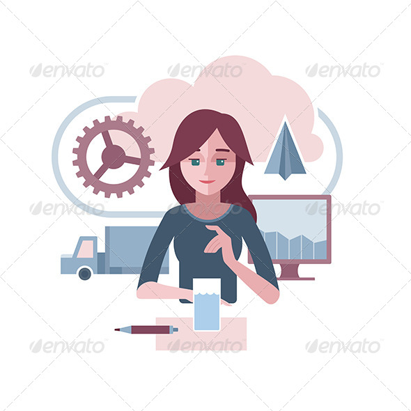 GraphicRiver Woman Presenting Abstract Corporate Environment 6624017