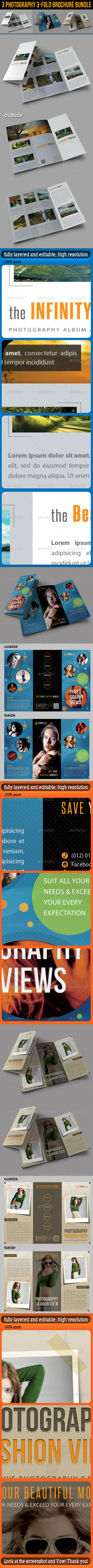 GraphicRiver 3 in 1 Photography 3-Fold Brochure Bundle 01 6625624