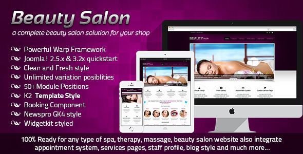 beauty salon responsive joomla template cms themes. Black Bedroom Furniture Sets. Home Design Ideas