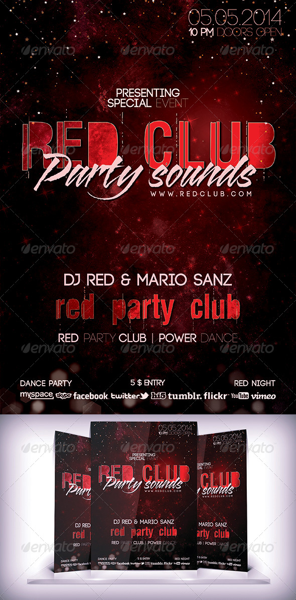 GraphicRiver Red Club Party Flyer 6527921