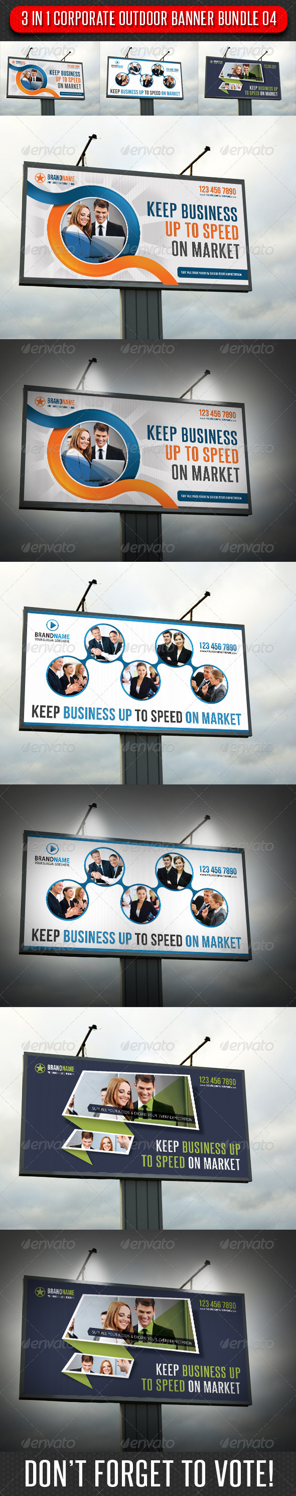 GraphicRiver 3 in 1 Corporate Outdoor Banner Bundle 04 6629450