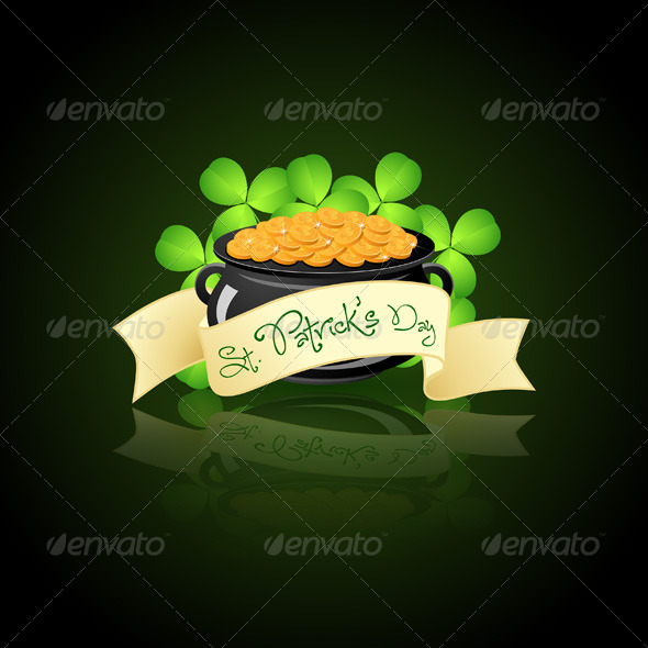 GraphicRiver St Patricks Day Cauldron with Gold Coins 6629900