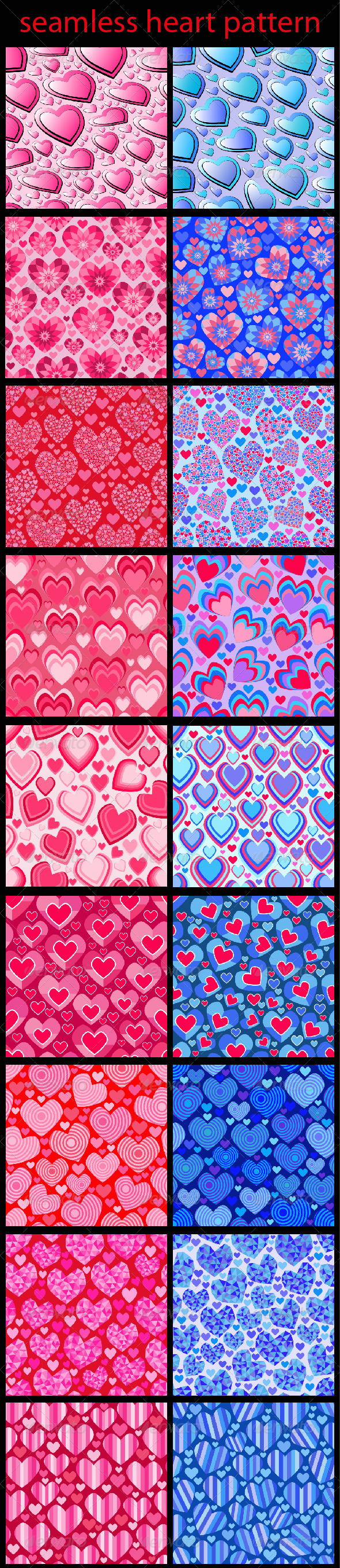 GraphicRiver Seamless Heart Patterns 6634310