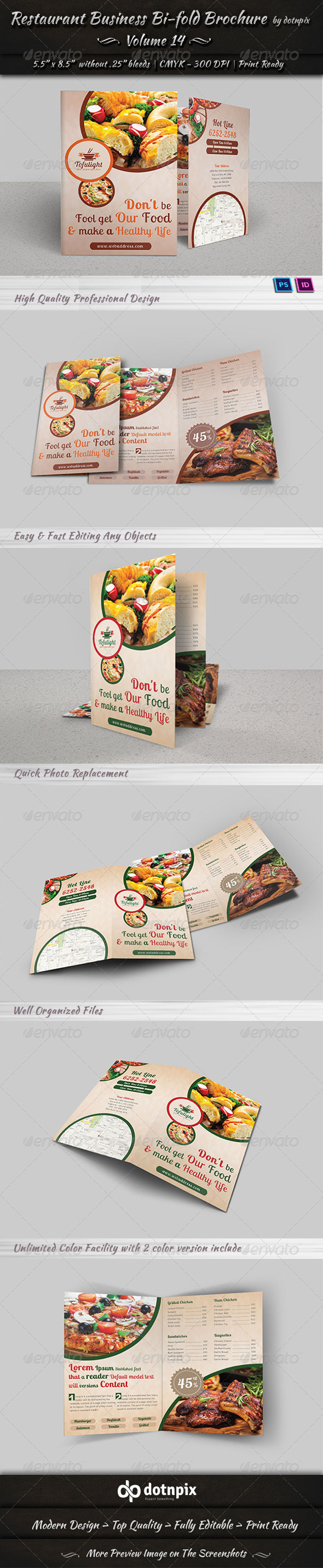 GraphicRiver Restaurant Business Bi-Fold Brochure Volume 14 6634971