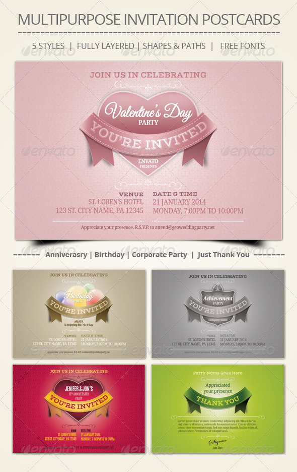 GraphicRiver Multipurpose Invitation Postcards 6636347
