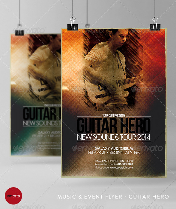 Music & Event Flyer - Guitar Hero - Clubs & Parties Events