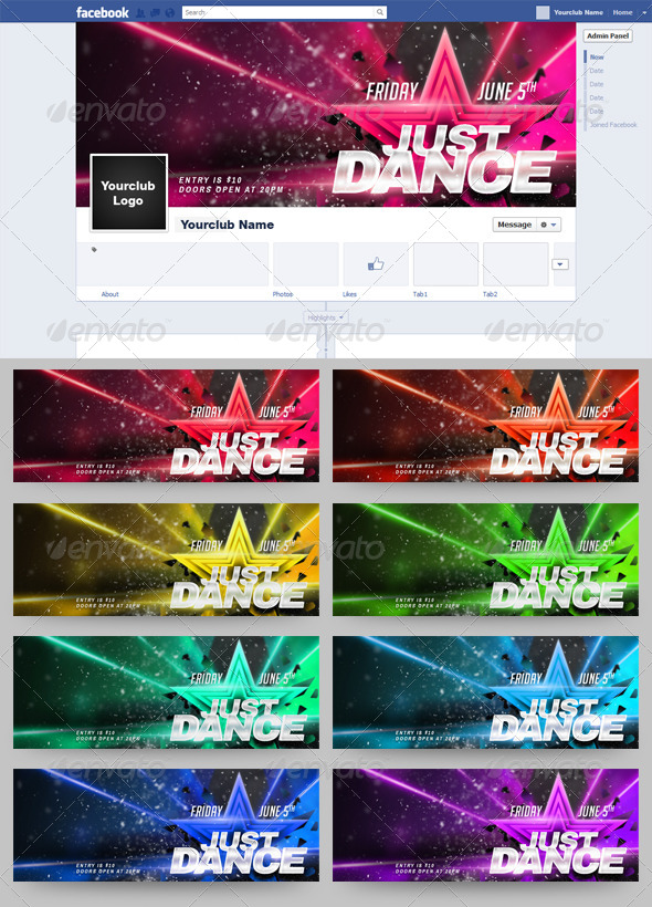 GraphicRiver Just Dance FB Timeline Cover 9 in 1 6639012