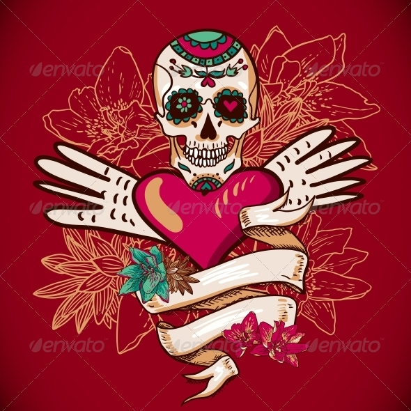 GraphicRiver Skull Hearts and Flowers Illustration 6639511