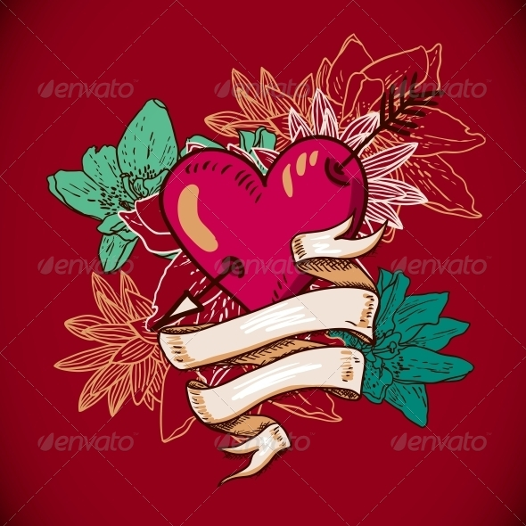 GraphicRiver Hearts and Flowers Vector Illustration 6639557