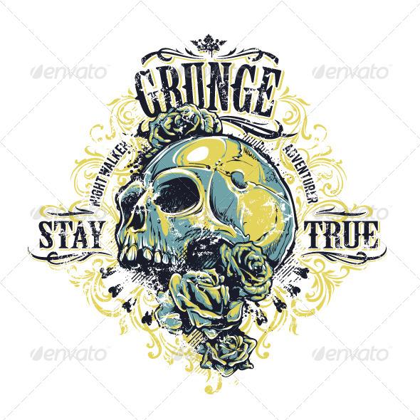 GraphicRiver Grunge Skull Print 6640363
