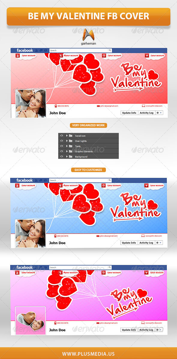 GraphicRiver Be My Valentine Facebook Cover 6640383