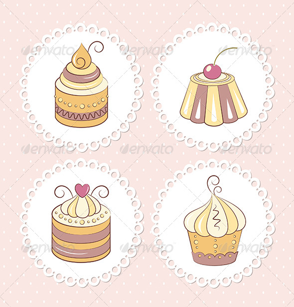 GraphicRiver Sweet Cupcakes Set 6641189