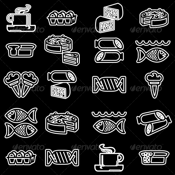 GraphicRiver Food Silhouettes of Icons Set 6642276