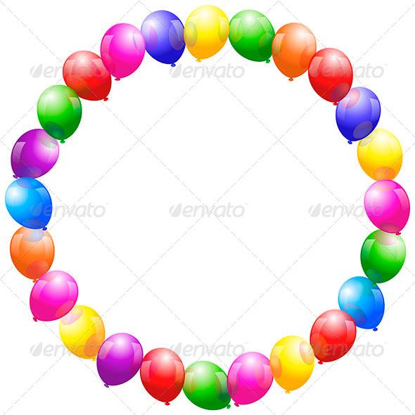 GraphicRiver Balloons Frame Circular 6643143