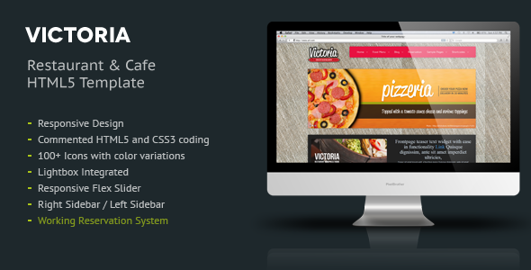 Victoria Responsive HTML5 Template - Restaurants & Cafes Entertainment
