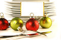 Closeup of Christmas place card holders with plates and utensils - PhotoDune Item for Sale