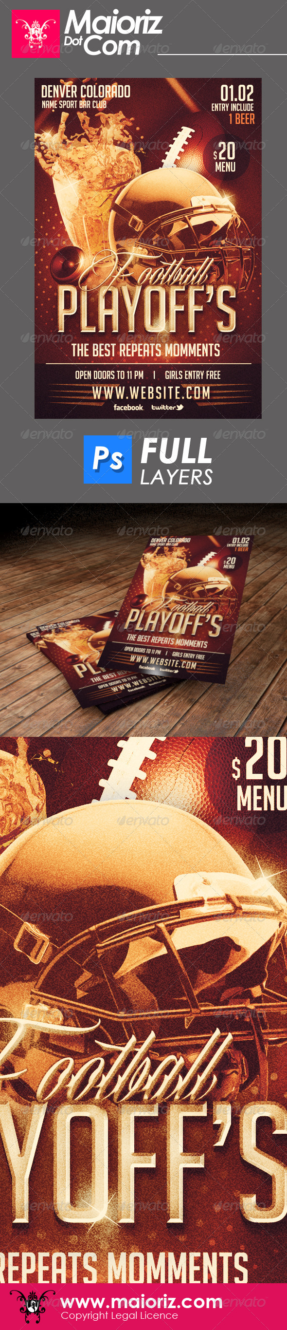 GraphicRiver Sport Bar Playoffs Flyer 6644089