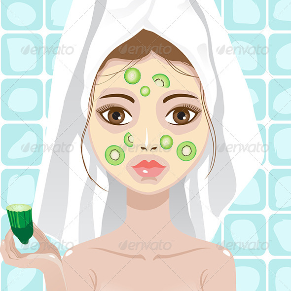 GraphicRiver Girl with Cucumber and Kwi Facemask 6644387