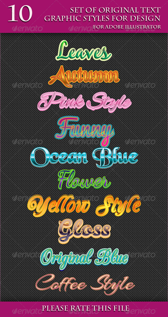 GraphicRiver Set of Original Text Graphic Styles for Design 6646510