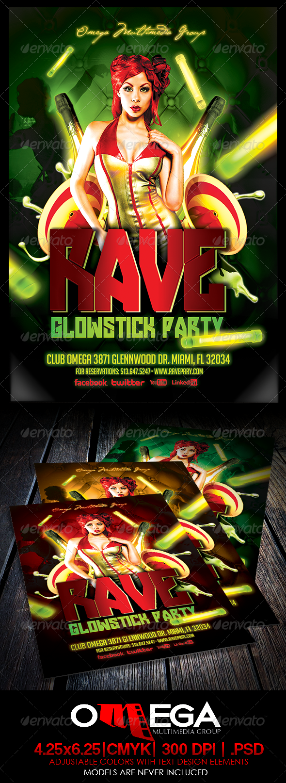 GraphicRiver Rave Glowstick Party 6647544