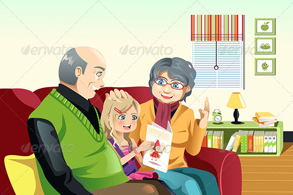 GraphicRiver Grandparents and Grandaughter Reading 6648645