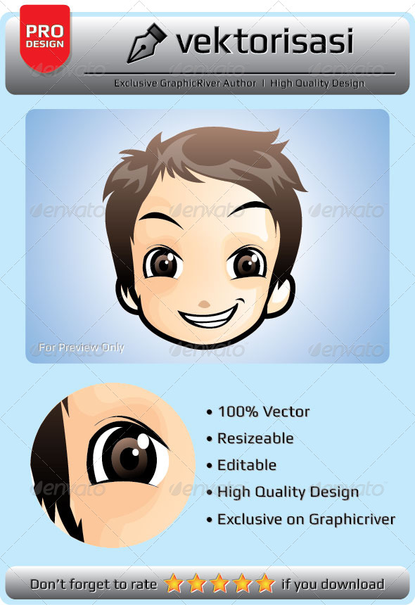 GraphicRiver Little Boy Face Vector 6648670