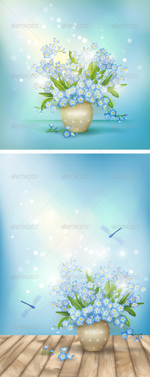 GraphicRiver Spring Blue Flowers Season Background 6648701