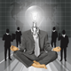 Lamp Head Businessman in Lotus Pose Meditating - GraphicRiver Item for Sale