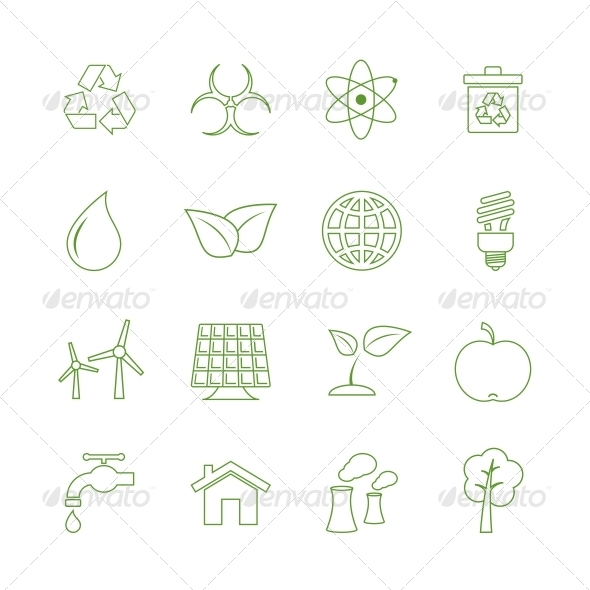 GraphicRiver Green Eecology Icons Set 6650062