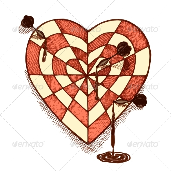 GraphicRiver Target Shaped Heart with Arrows Emblem 6650143