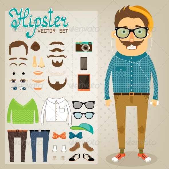 GraphicRiver Hipster Character Pack for Geek Boy 6650154