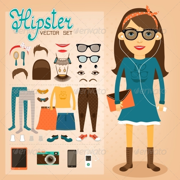 GraphicRiver Hipster Character Pack for Geek Girl 6650155