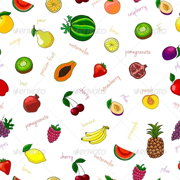 GraphicRiver Fresh Fruits Seamless Pattern 6650227