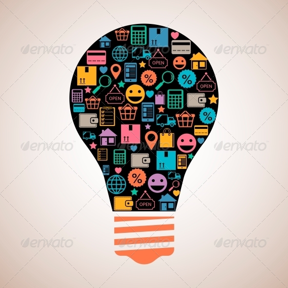 GraphicRiver Online Shopping Light Bulb 6650236