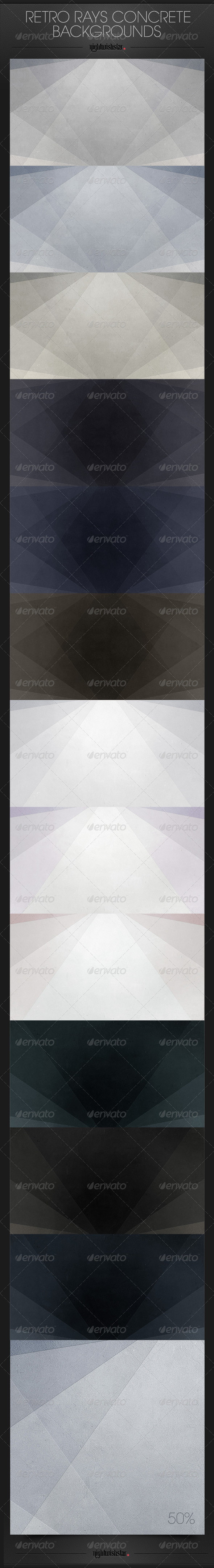 GraphicRiver Retro Rays Concrete Wall Backgrounds 6641671