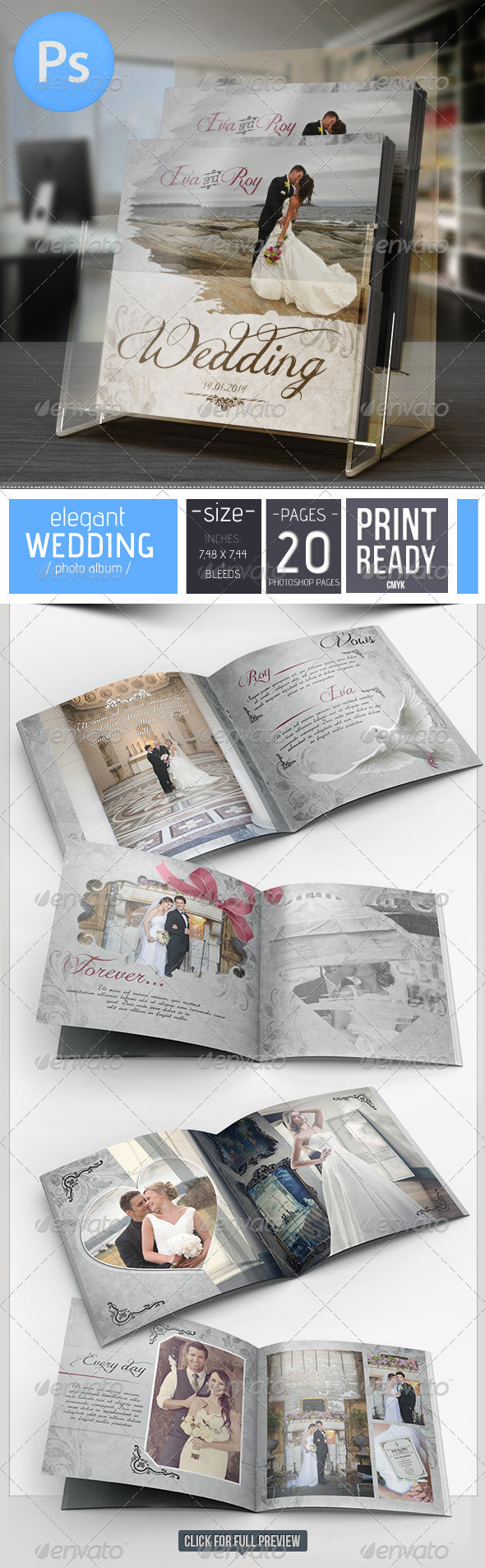 GraphicRiver 20 Pages Elegant Wedding Photo Album For Photoshop 6652288